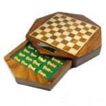 17cm Octagonal Personalised Wooden Chess Set with storage drawer, ref CS17